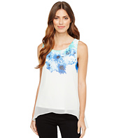 Calvin Klein - Printed Slit Back Top with Chiffon Overlay