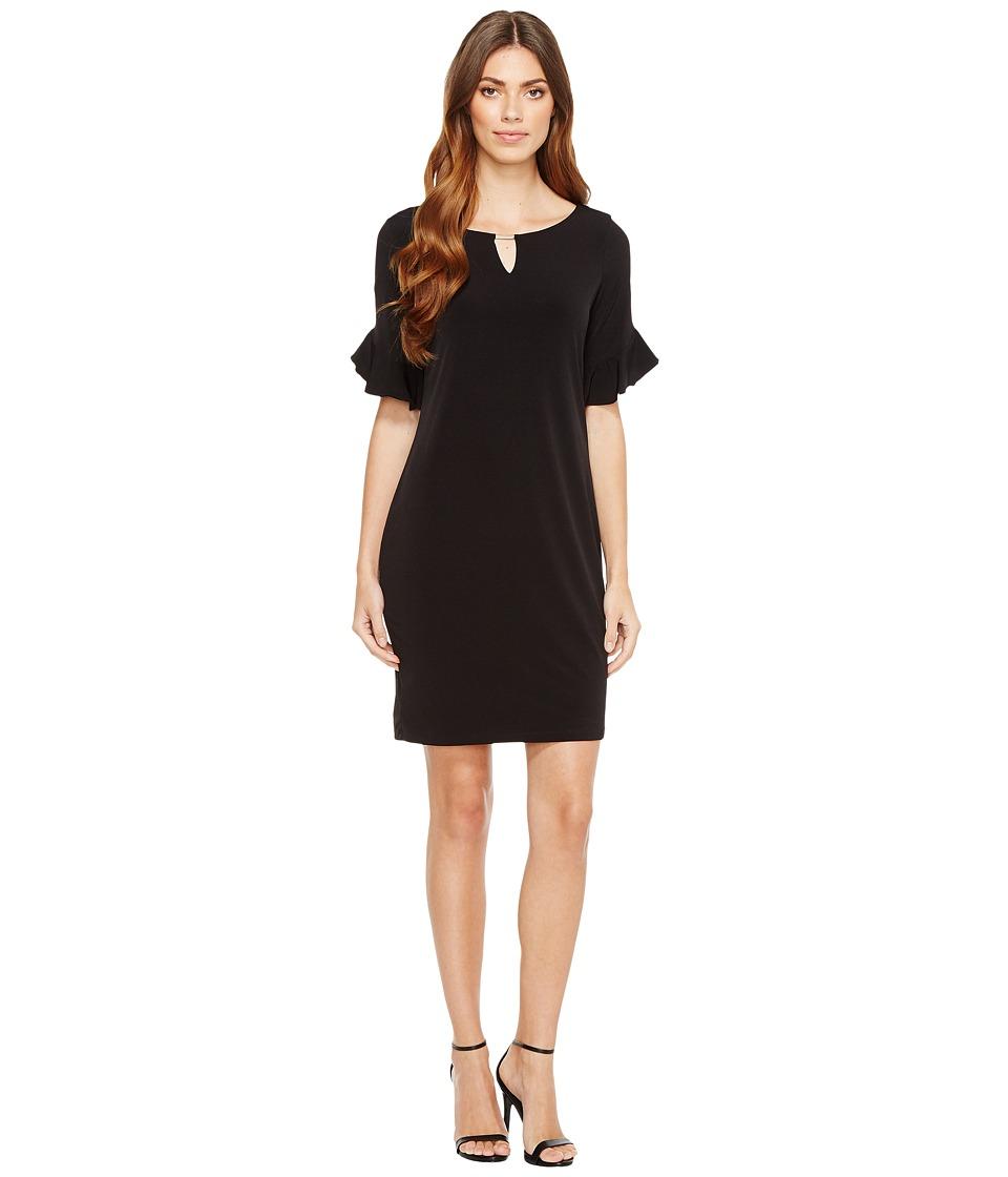 Calvin Klein Ruffle Sleeve Dress with Hardware (Black) Women