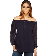 Calvin Klein - Crinkle Off the Shoulder Top with Lace-Up
