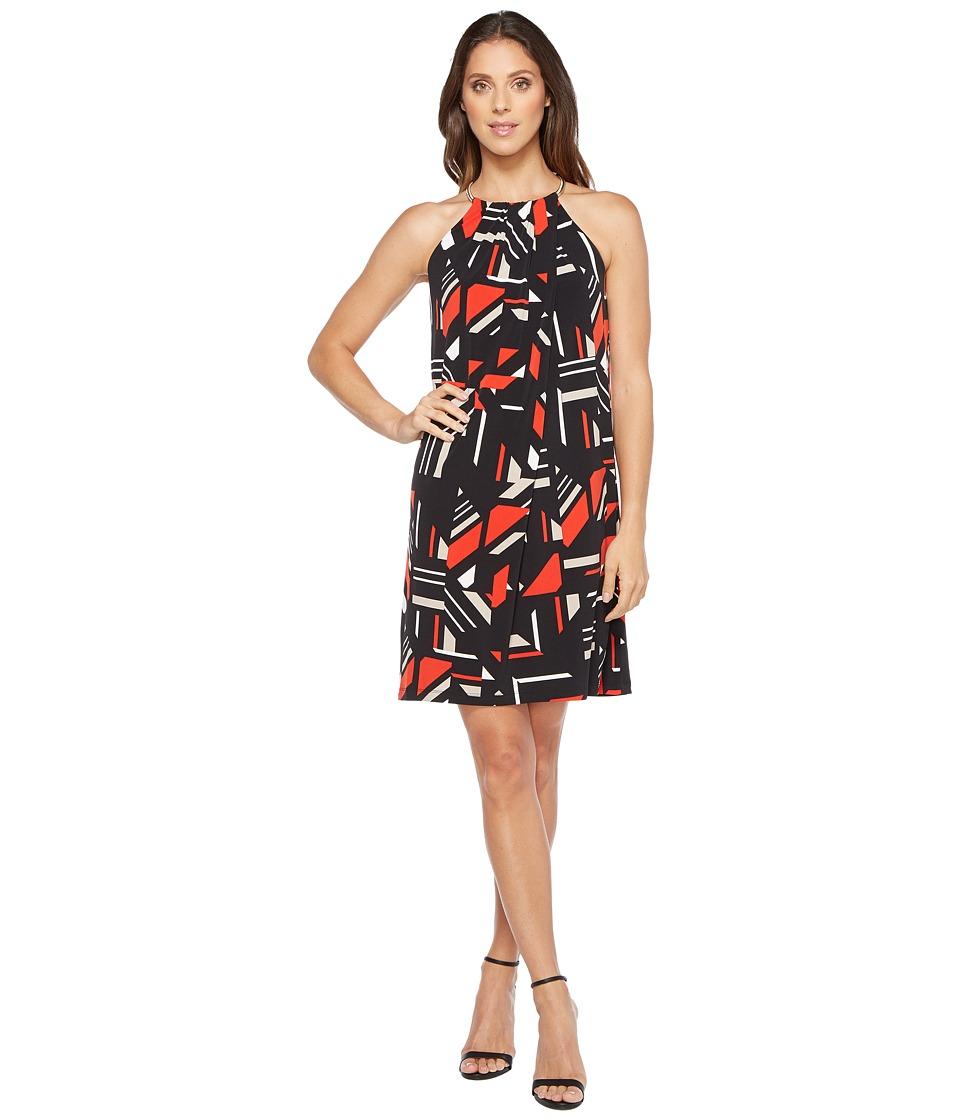 Calvin Klein Printed Halter Dress with Chain Neck (Black/Latte Combo) Women