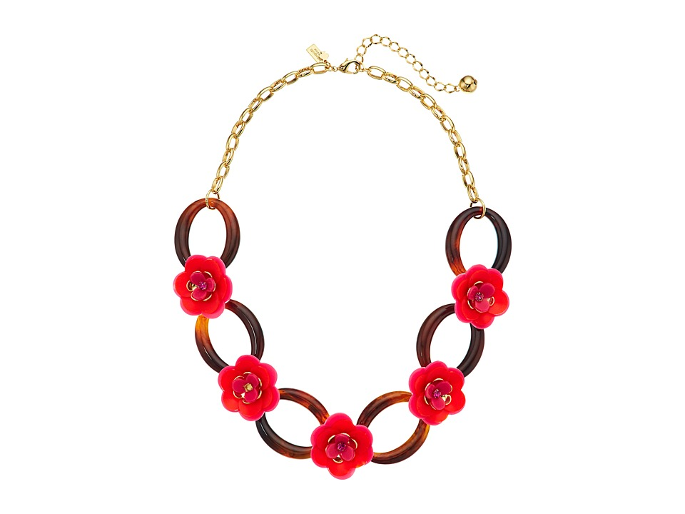Kate Spade New York - Rosy Posies Link Necklace (Pink Mul...
