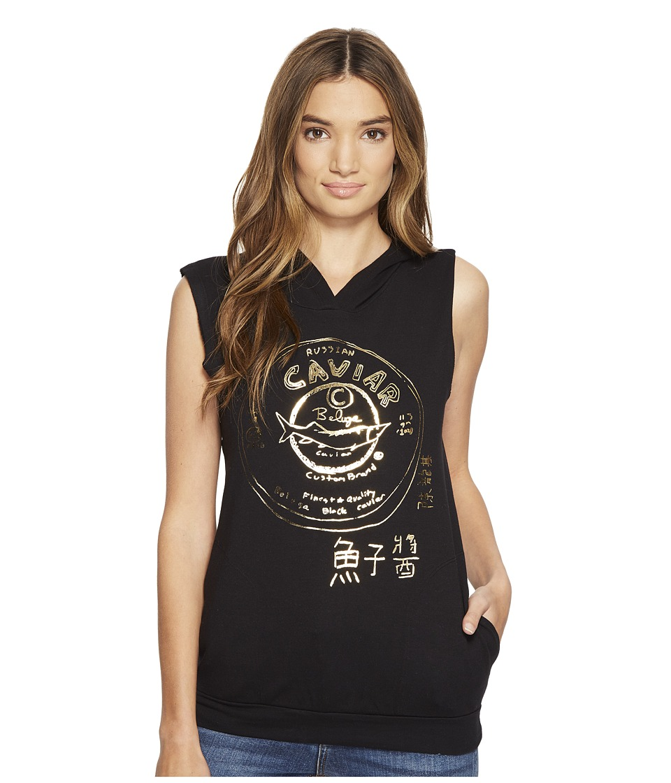 Custom Ketchup - Caviar Gold Foil on Sleeveless Hoodie (Black) Womens Clothing