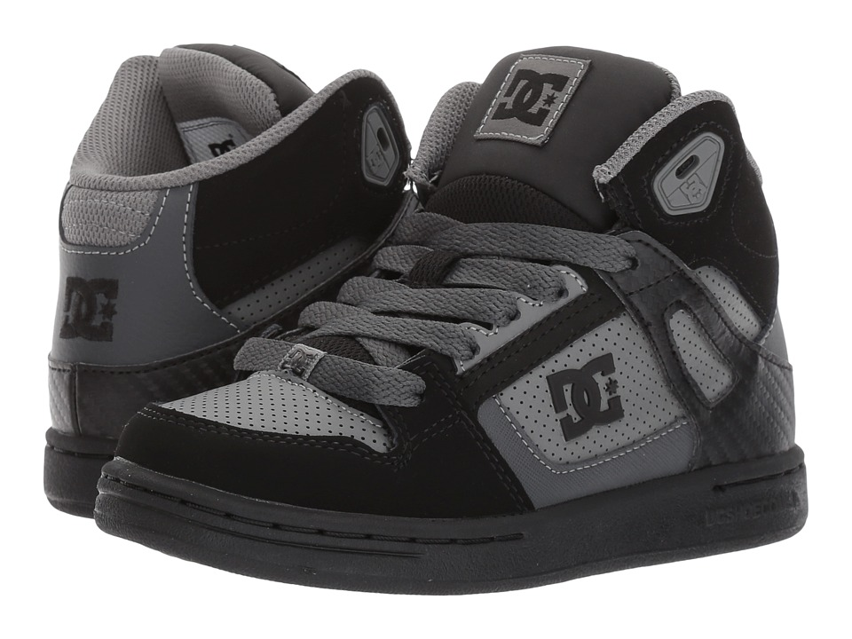 DC Kids Rebound (Little Kid/Big Kid) (Grey/Black/Grey) Boys Shoes