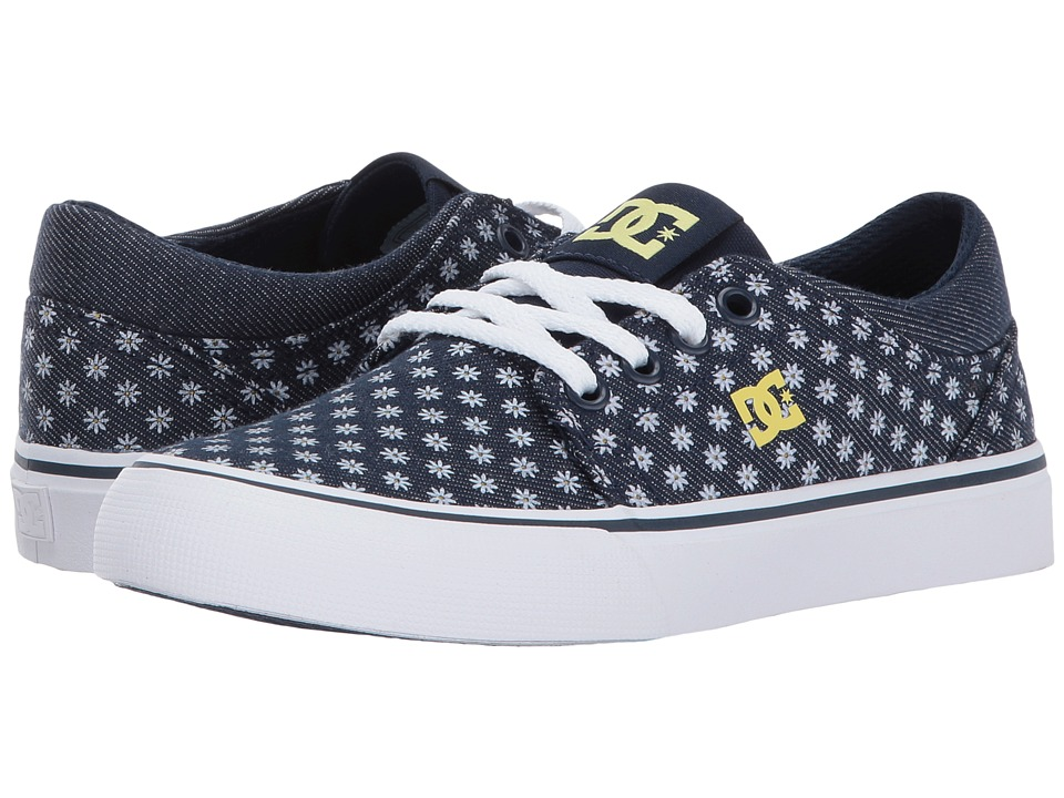 DC Kids Trase TX SE (Little Kid/Big Kid) (Navy/Yellow) Girls Shoes