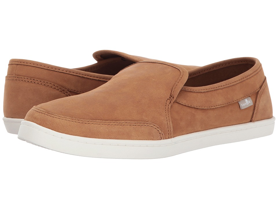 Sanuk Pair O Dice Leather (Tobacco Brown) Slip-On Shoes