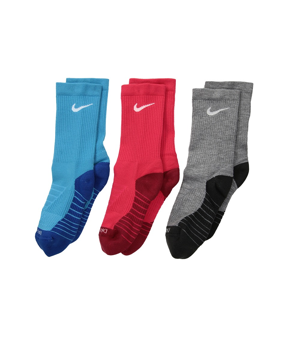 Nike Kids Dry Cushion Crew Socks 3-Pair Pack (Toddler/Little Kid/Big Kid) (Multicolor 2) Kids Shoes