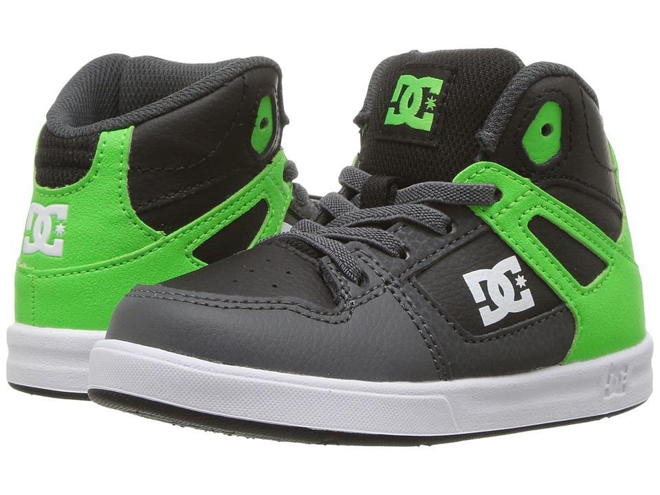 DC Kids Rebound UL Glow (Toddler) (Green/Grey/White) Boys Shoes