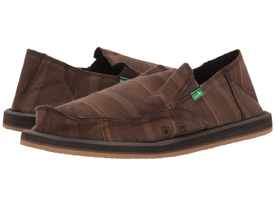 Sanuk - Donny (Dark Brown Vintage Denim Stripe) Mens Slip on  Shoes