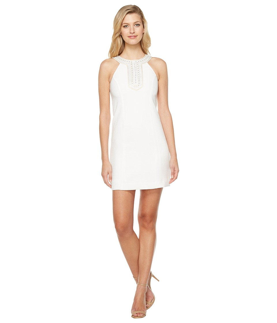 Jessica Simpson Textured Dress with Neck Embellishment (Ivory 1) Women