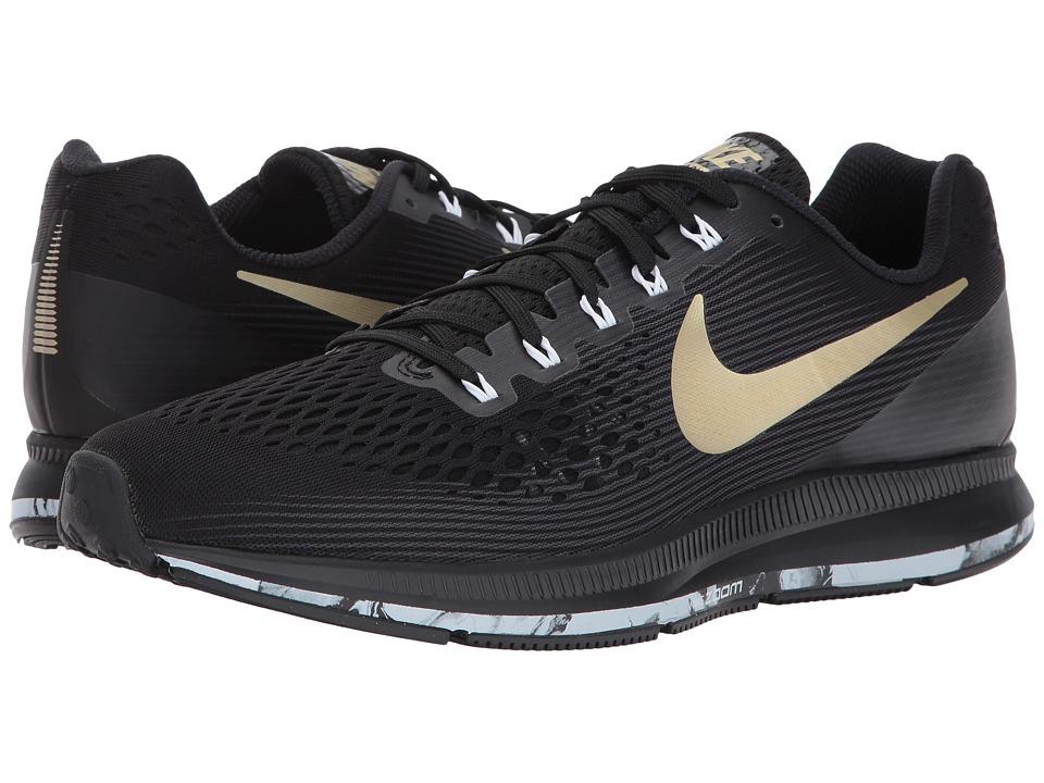 Nike Air Zoom Pegasus 34 (Black/Metallic Gold Star/Anthracite/White) Men