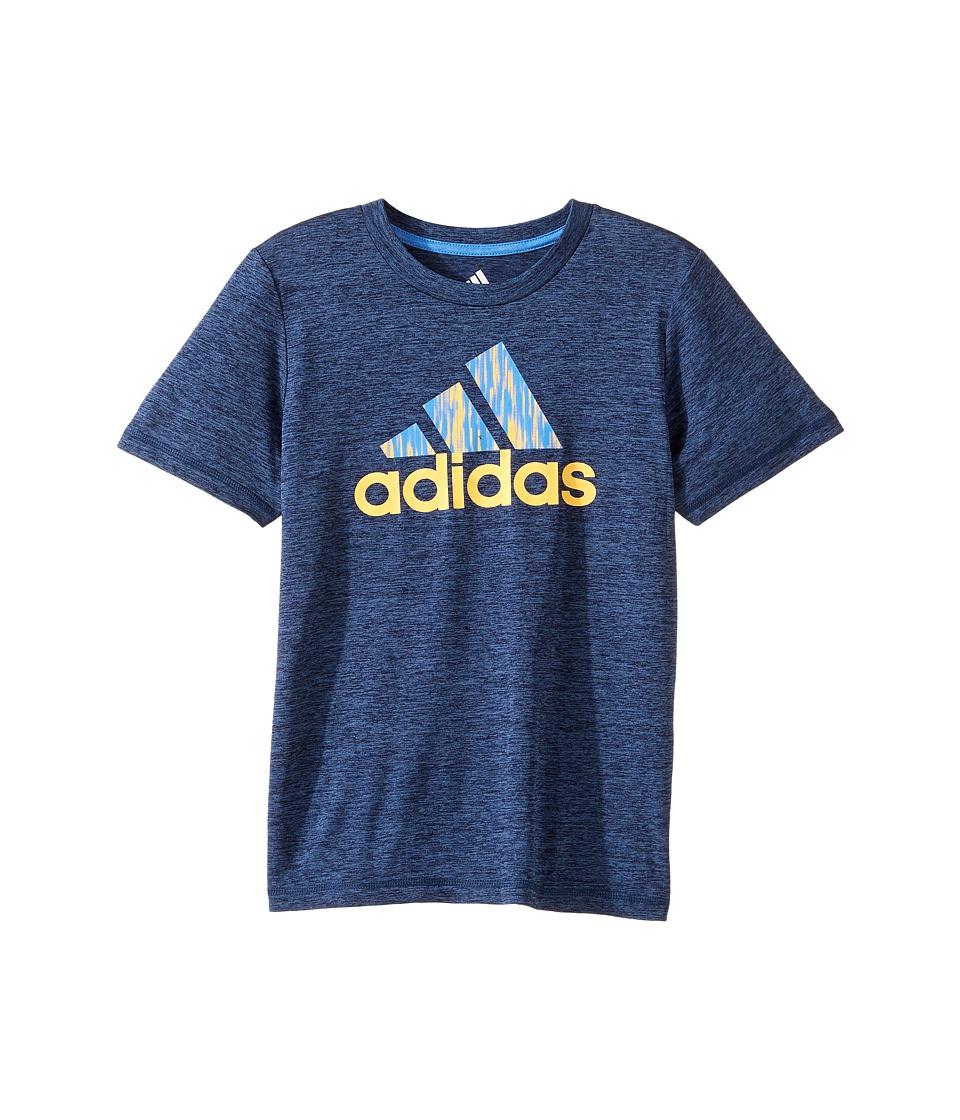 adidas Kids Print Logo Tee (Toddler/Little Kids) (Navy Heather) Boy