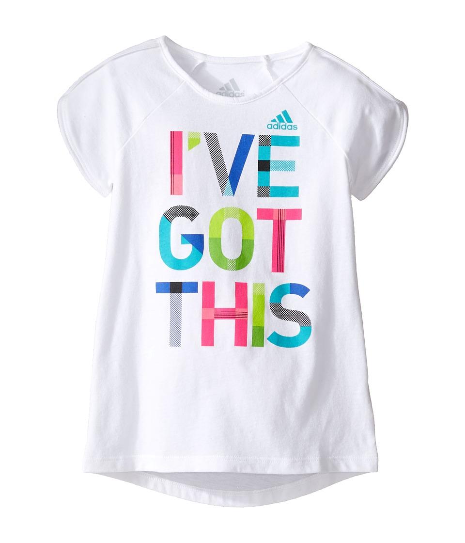 adidas Kids Practice Tee (Toddler/Little Kids) (White) Girl