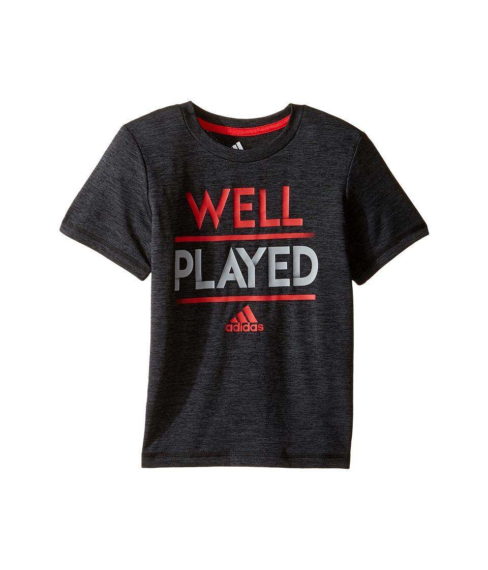 adidas Kids Well Played Tee (Toddler/Little Kids) (Black Heather) Boy