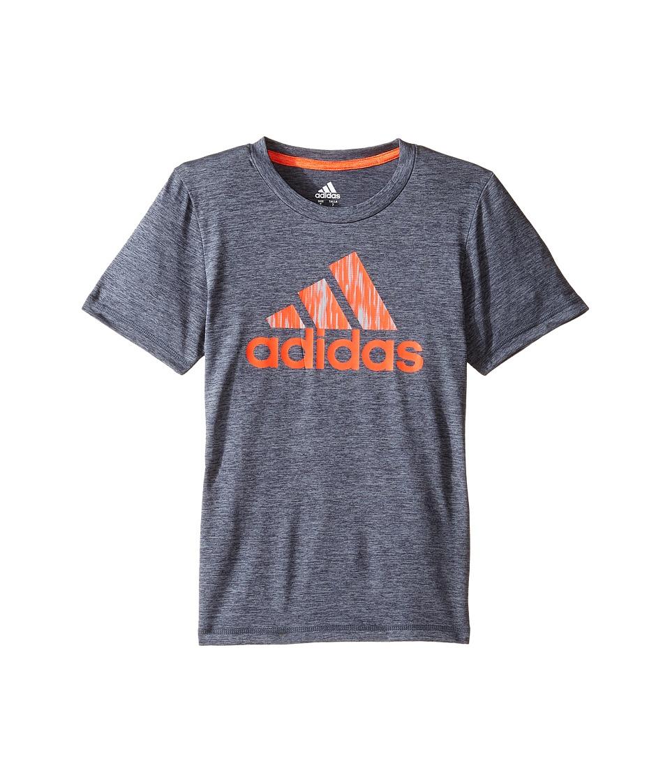 adidas Kids Print Logo Tee (Toddler/Little Kids) (Dark Grey Heather) Boy