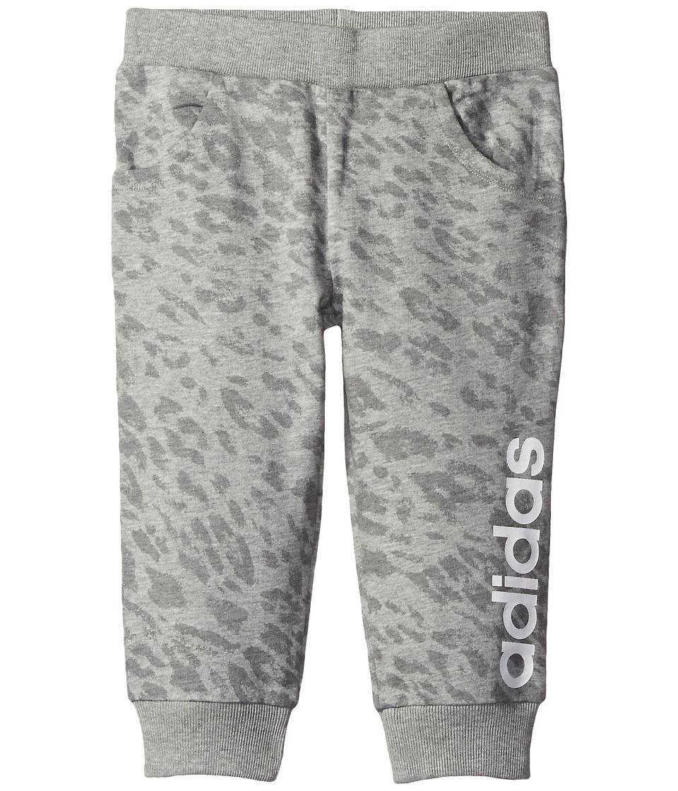 Image of adidas Kids - 7/8 Length Printed Jogger (Toddler/Little Kids) (Grey) Girl's Casual Pants