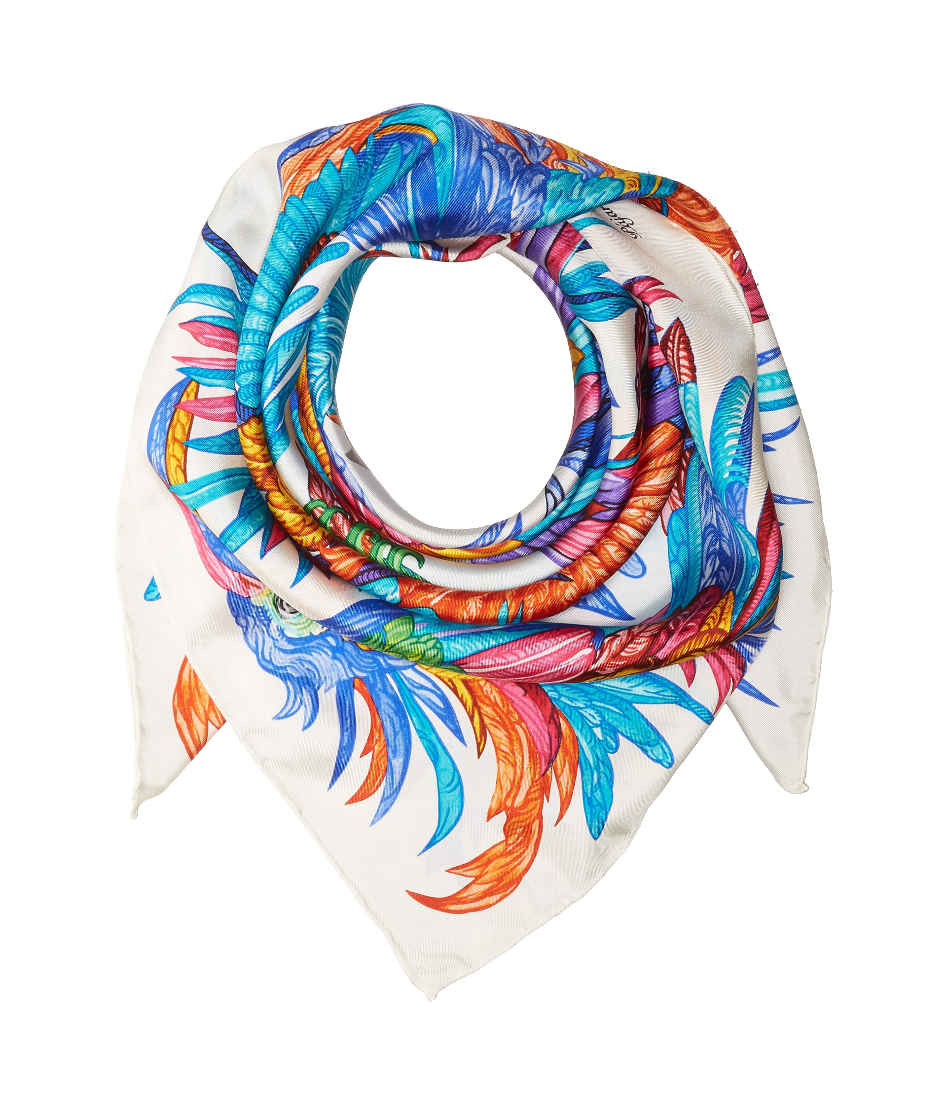 echo design pajaros coloridos silk square scarf white
