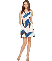 Vince Camuto - Printed Scuba V-Neck Fit and Flare Dress