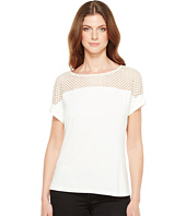 Calvin Klein - Short Sleeve Top with Lace Yoke
