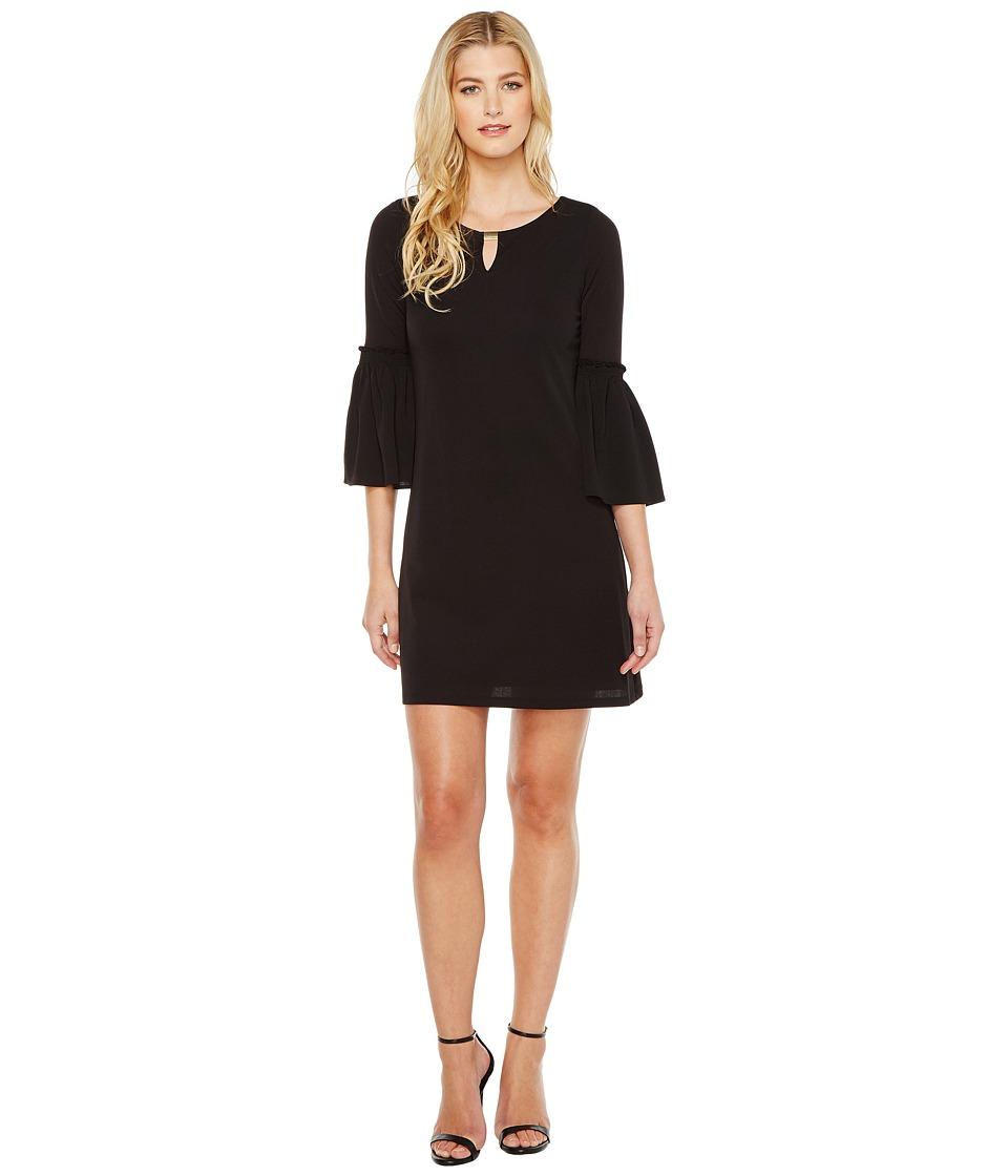 Calvin Klein Flutter Sleeves Dress with Hardware (Black) Women