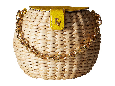 Frances Valentine Honey Pot Woven Bucket Bag - Natural/Yellow