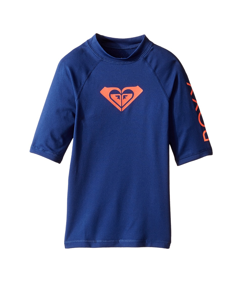 Roxy Kids Whole Hearted Short Sleeve Rashguard (Big Kids) (Blue Depths) Girl