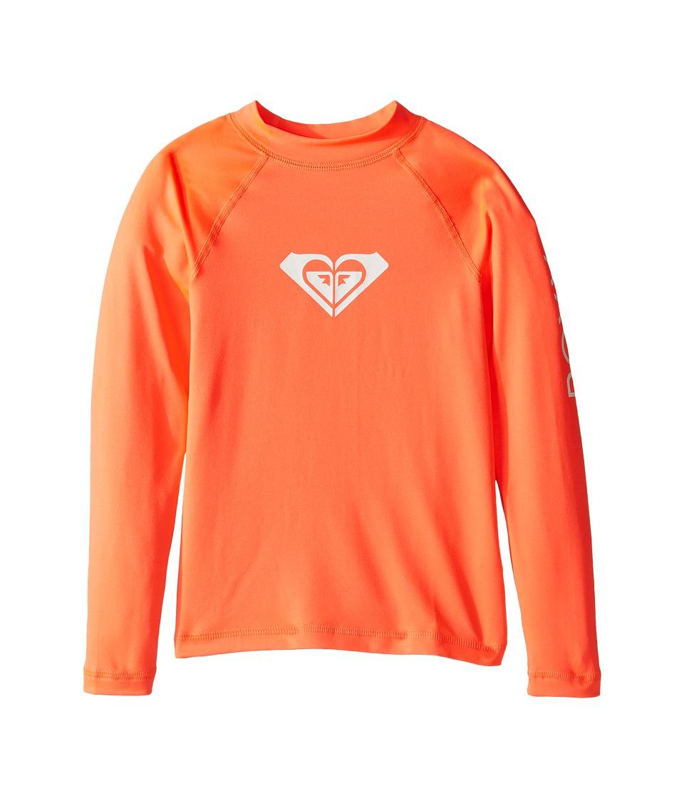 Roxy Kids Whole Hearted Long Sleeve Rashguard (Toddler/Little Kids/Big Kids) (Neon Grapefruit) Girl