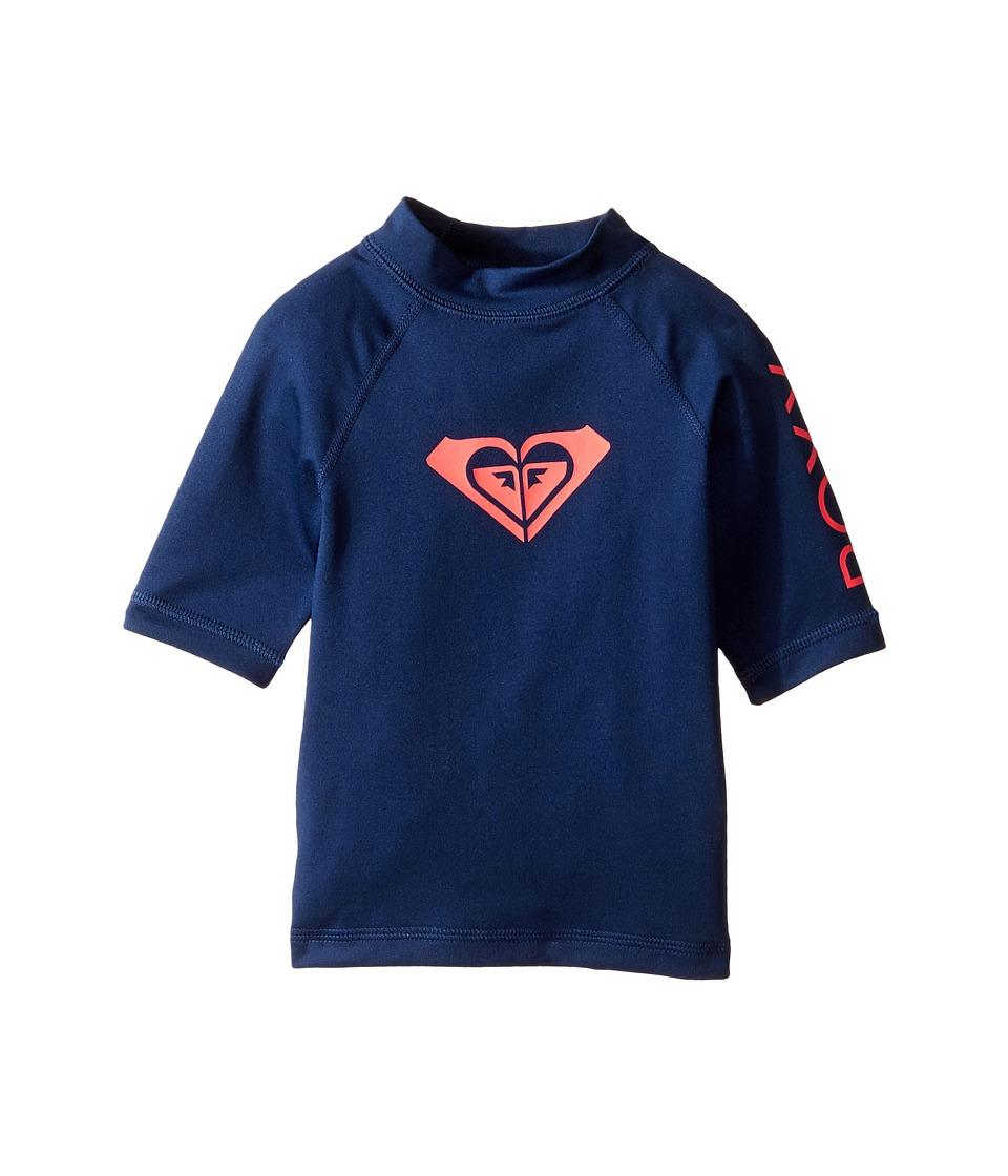 Roxy Kids Whole Hearted Short Sleeve Rashguard (Toddler/Little Kids/Big Kids) (Blue Depths) Girl