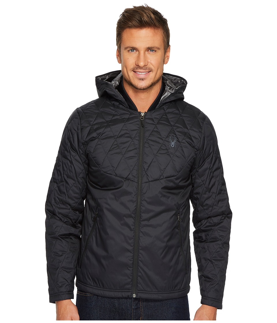 Spyder Ouzo Synthetic Down Hoodie Jacket (Black) Men's Coat