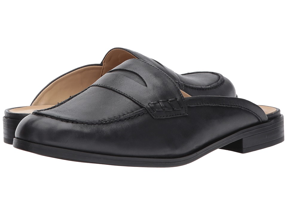Retro Vintage Flats and Low Heel Shoes Naturalizer - Villa Black Worn Leather Womens  Shoes $80.99 AT vintagedancer.com