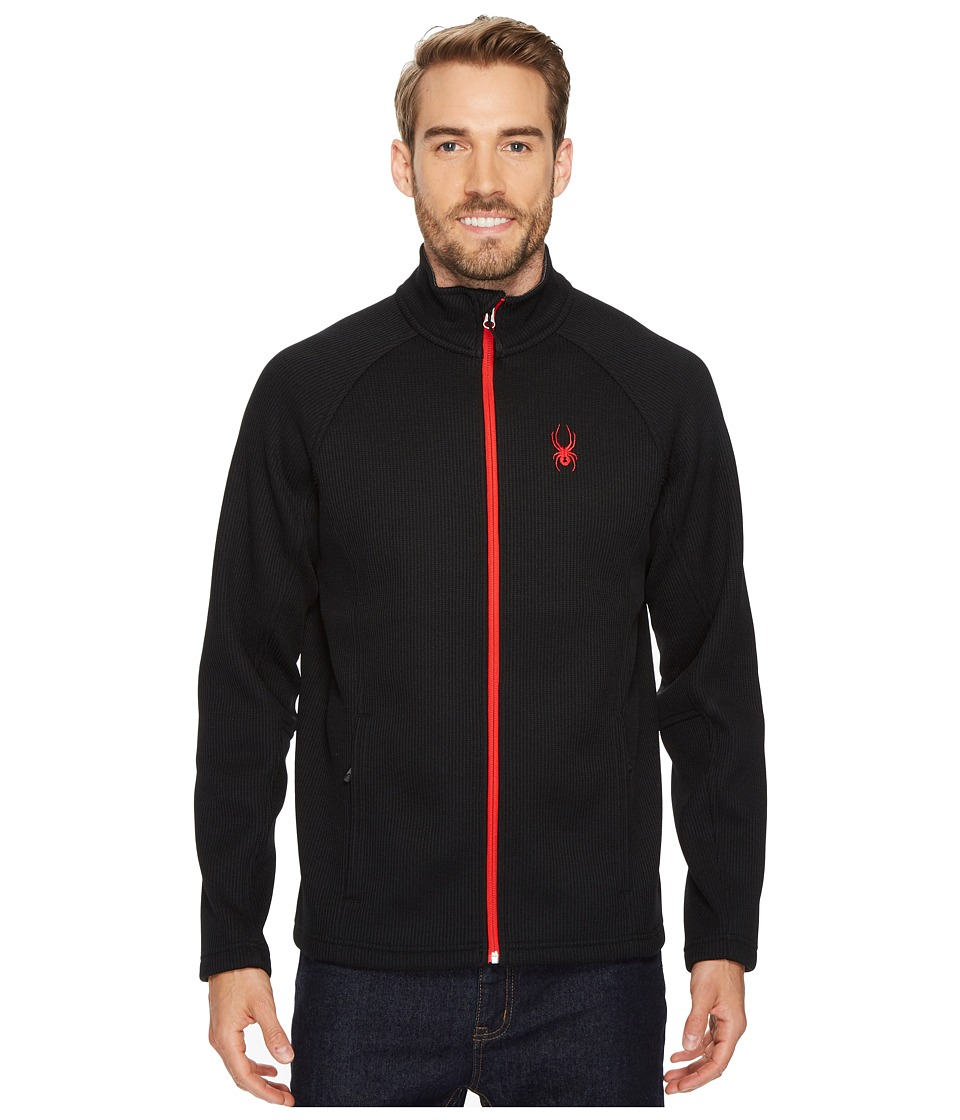 Spyder Constant Full Zip Midweight Stryke Jacket (Black/Black/Red) Men