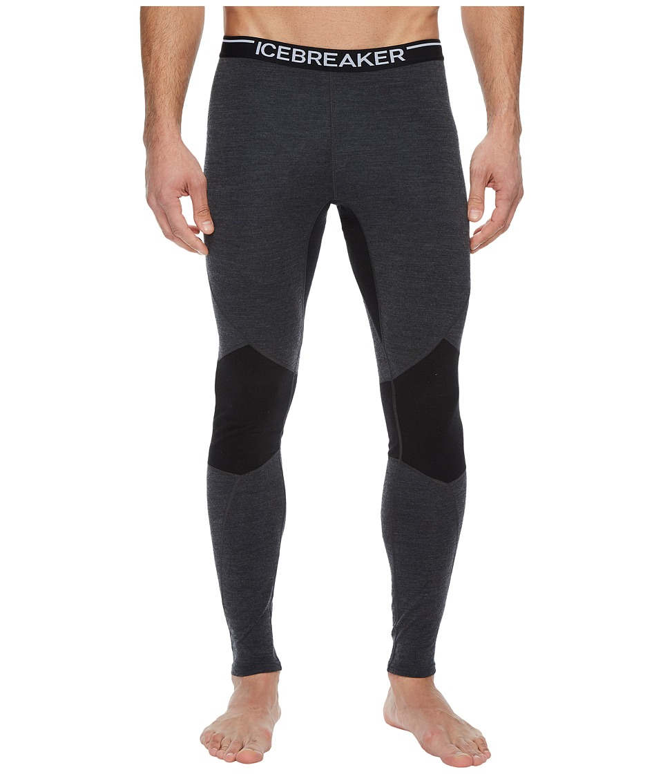 Icebreaker Winter Zone Leggings (Jet Heather/Black/Black) Men