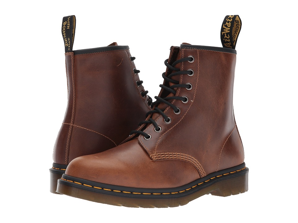 Dr. Martens - 1460 8-Eye Boot (Butterscotch Orleans/Black Pu) Mens Lace-up Boots