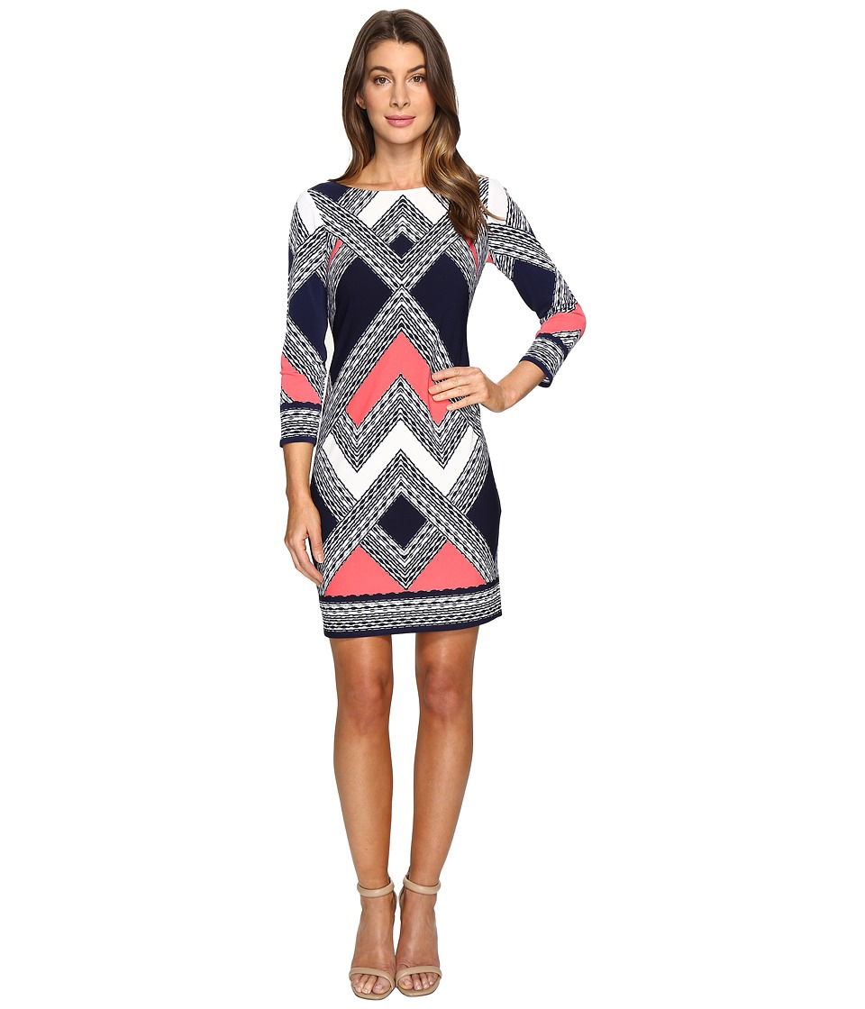 Vince Camuto Moss Crepe T-Body Dress with Long Sleeves (Navy Multi) Women