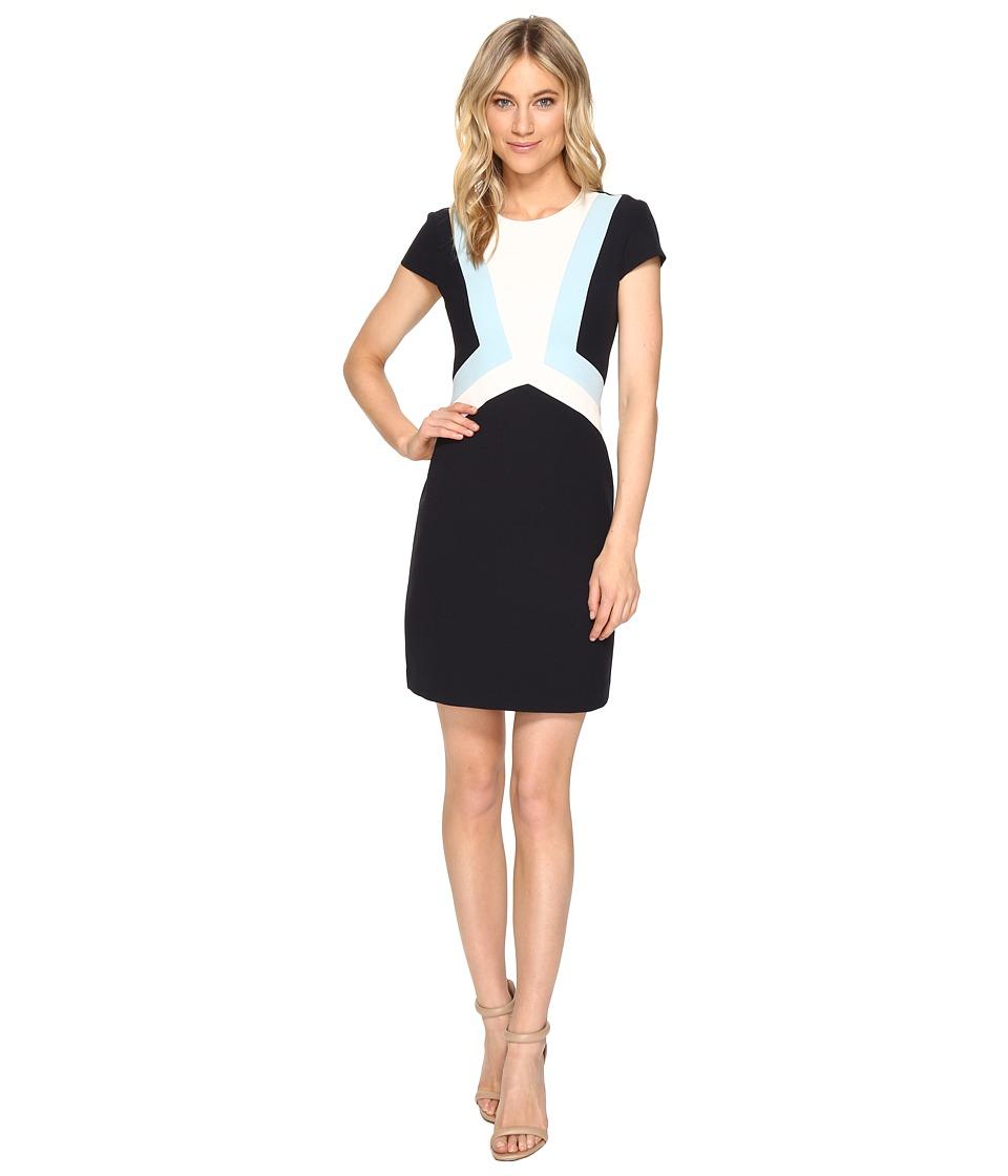 Vince Camuto Crepe Cap Sleeve Color Block Shift Dress (Navy Blue) Women