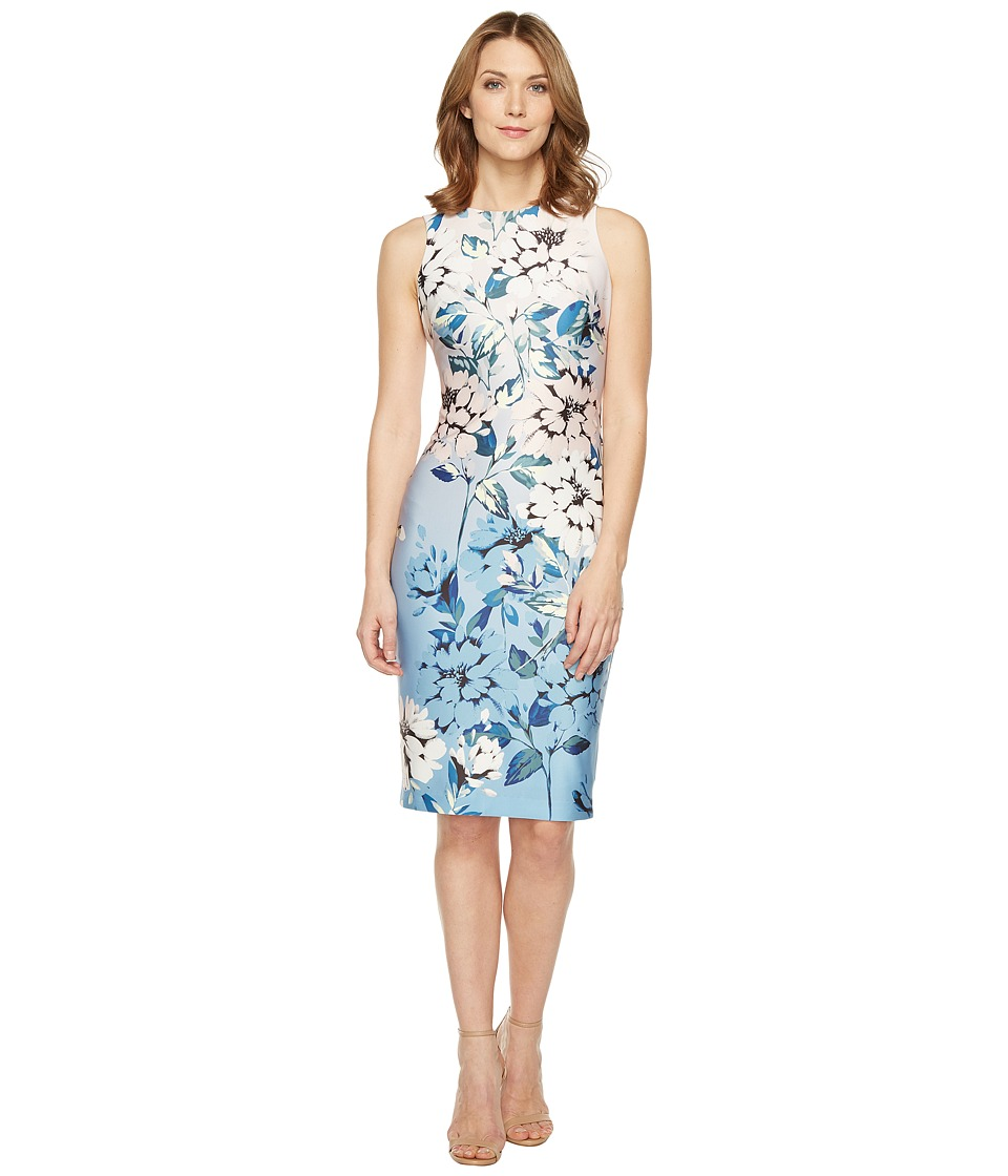 Vince Camuto Floral Printed Sleeveless Bodycon Dress (Blush Multi) Women