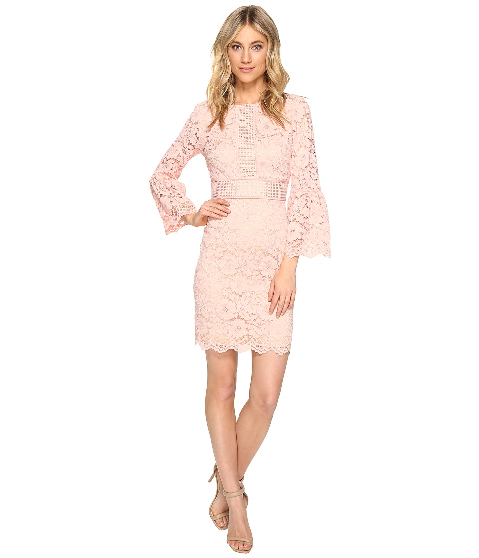 Vince Camuto Lace Shift Dress with Bell Sleeves (Blush) Women
