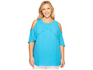 Plus Size Cross Over Ruffled Cold Shoulder Blouse