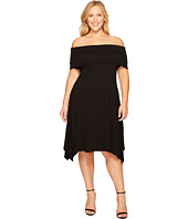 Vince Camuto Specialty Size - Plus Size Elbow Sleeve Off Shoulder Sharkbite Dress