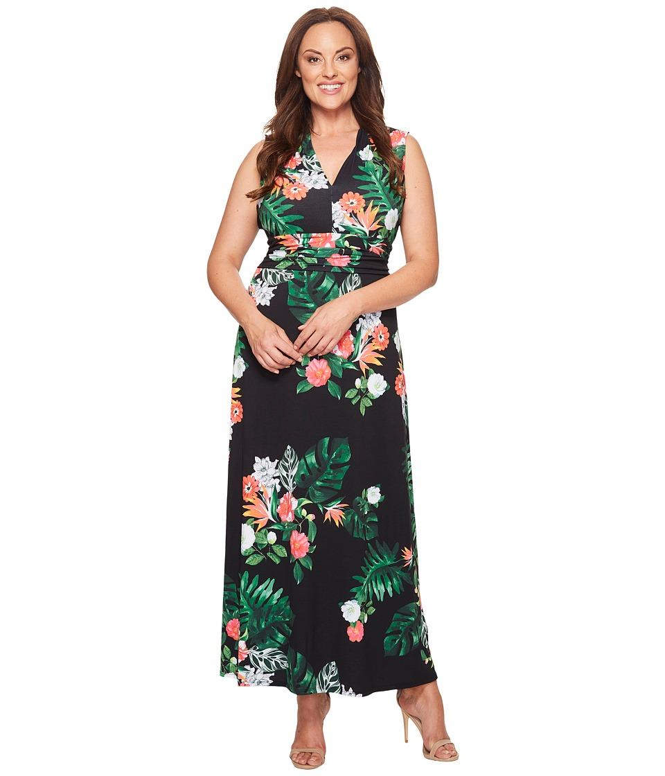 Vince Camuto Specialty Size Plus Size Sleeveless Havana Tropical Halter Maxi Dress (Rich Black) Women