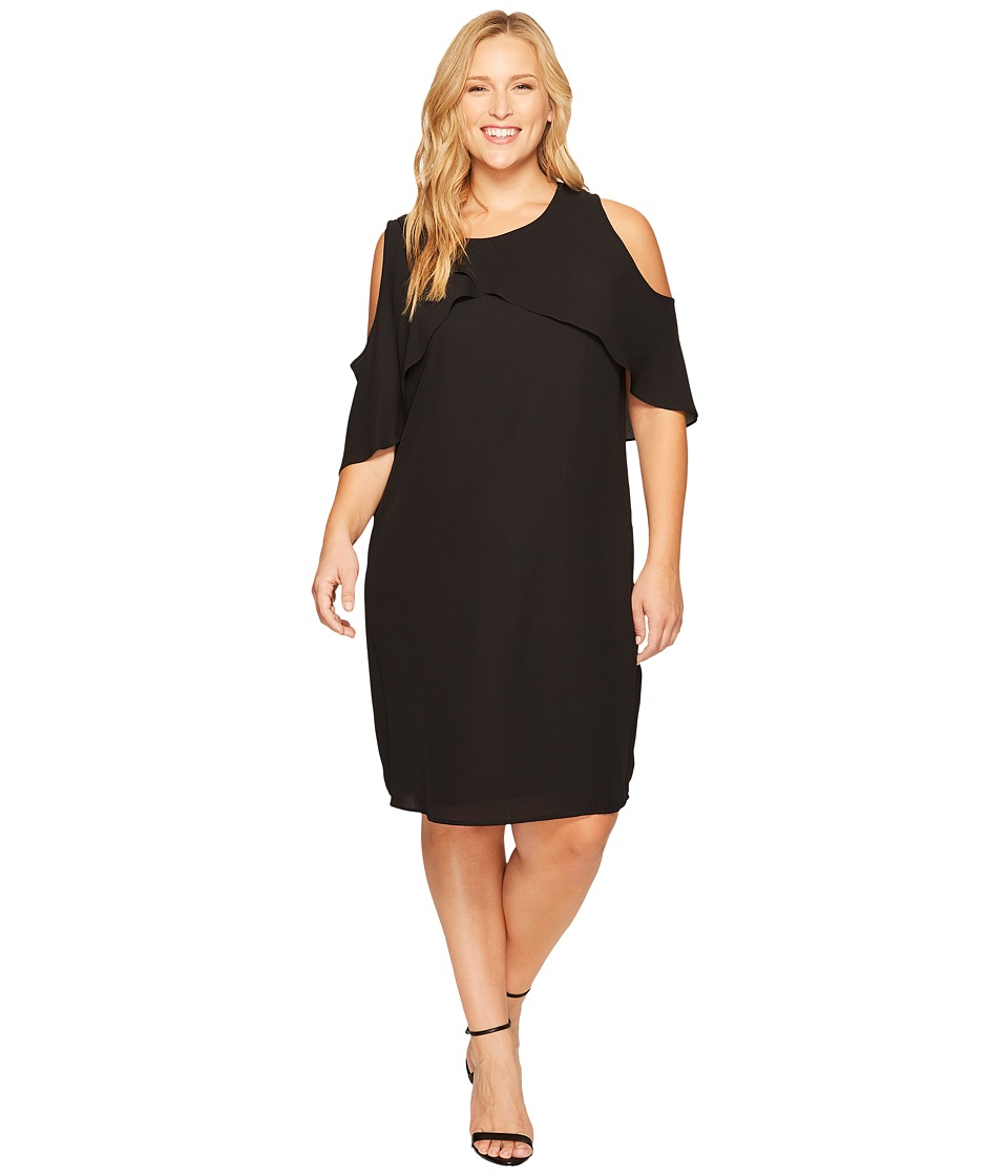 Vince Camuto Specialty Size Plus Size Cross Over Ruffled Cold Shoulder Dress (Rich Black) Women