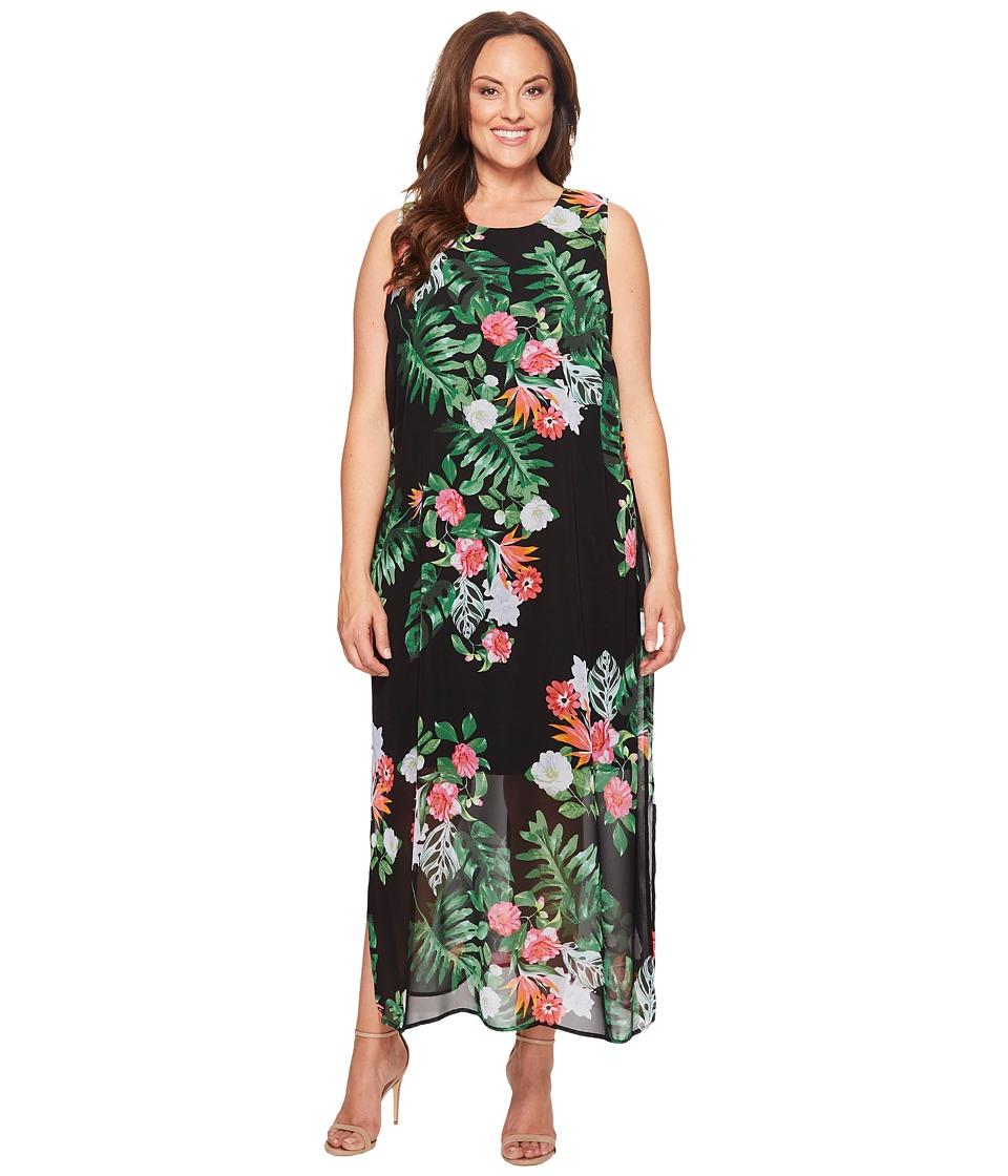 Vince Camuto Specialty Size Plus Size Sleeveless Havana Tropical Maxi Dress w/ Slits (Rich Black) Women
