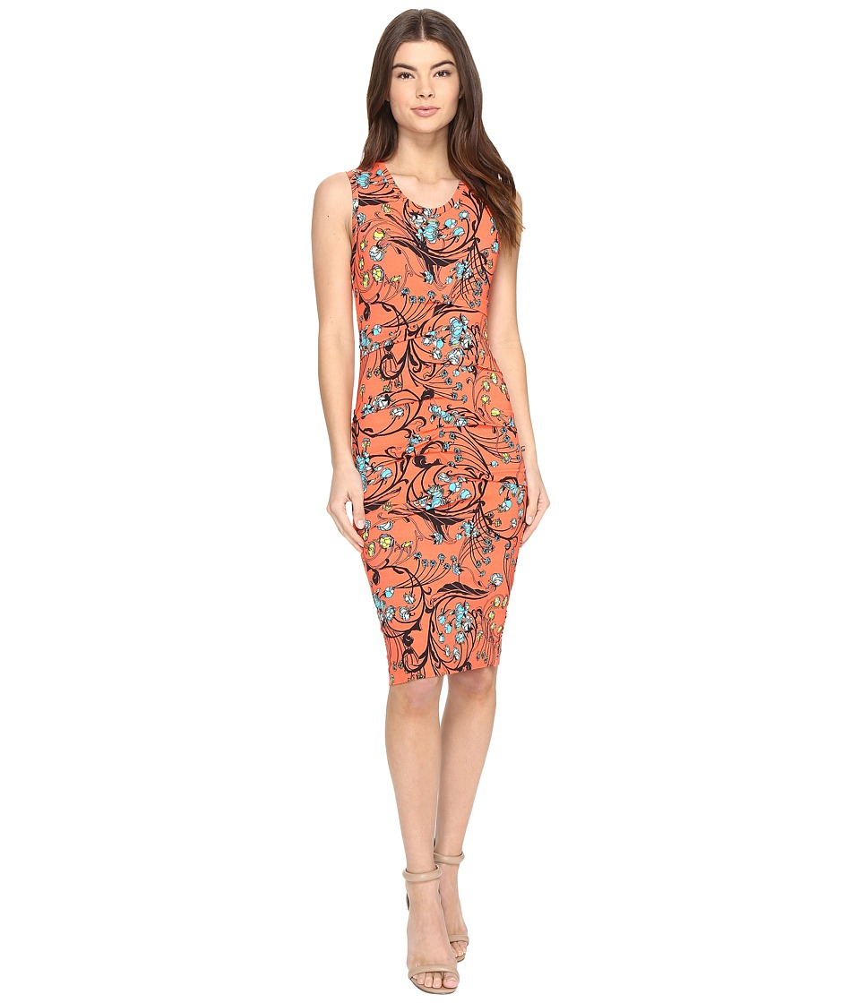 Nicole Miller Floral Nouveau Jersey Dress (Hot Coral) Women