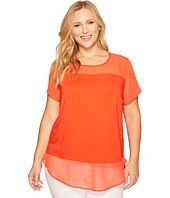 Vince Camuto Specialty Size - Plus Size Short Sleeve Mix Media Top w/ Poly Chiffon Yoke/Hem