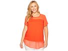Plus Size Short Sleeve Mix Media Top w/ Poly Chiffon Yoke/Hem