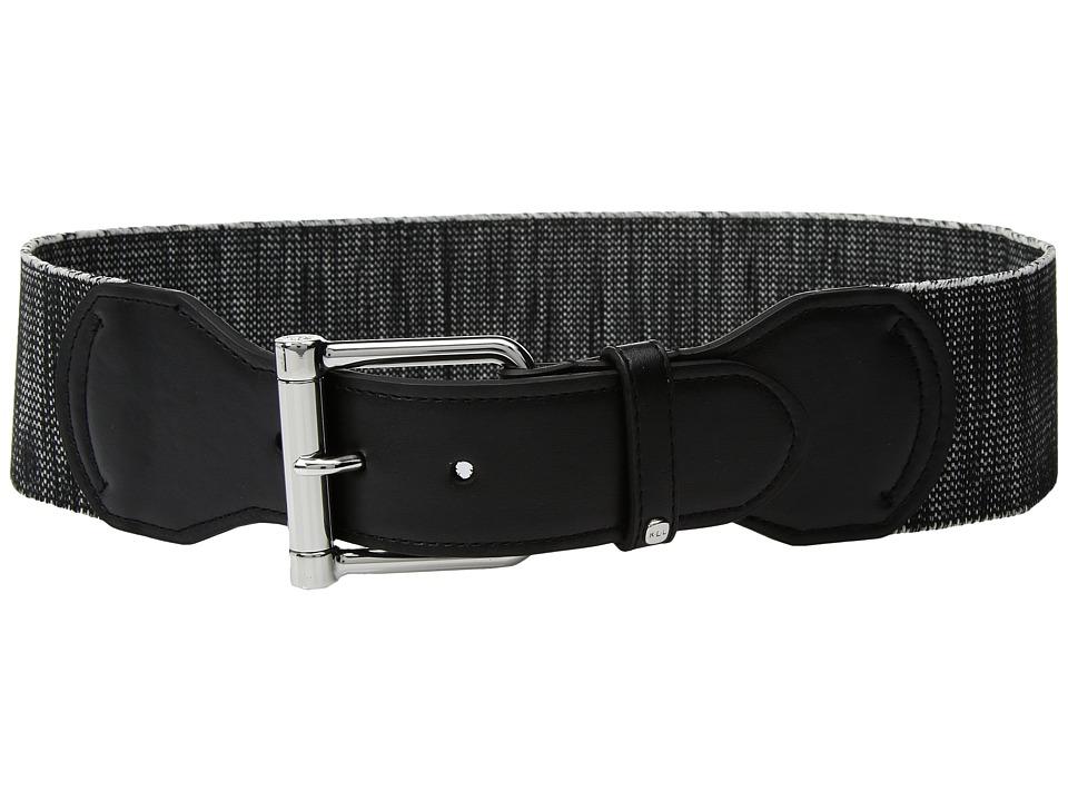 LAUREN Ralph Lauren Stretch Roller Tab Front Belt (Black/Black) Women
