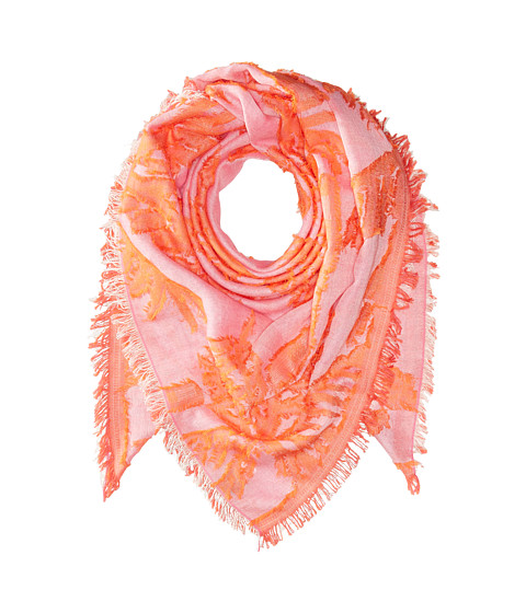 Echo Design Palm Fringe Square Wrap Scarf - Hiscus Pink