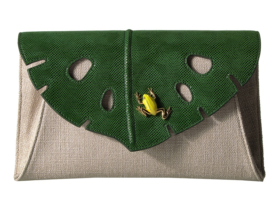 Charlotte Olympia Monstera Clutch (Jungle Green/Grey) Clutch Handbags