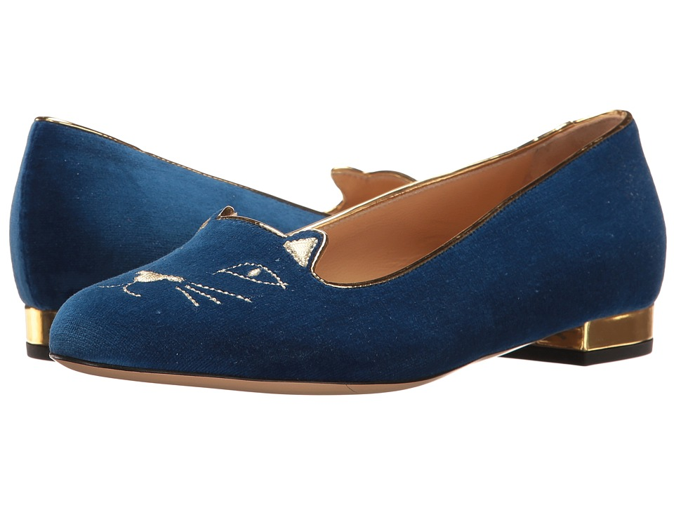 Charlotte Olympia Kitty Flats (Dark Blue Velvet/Metallic Calfskin) Women