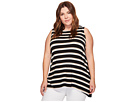 Vince Camuto Specialty Size - Plus Size Sleeveless Desert Stripe High-Low Hem Top