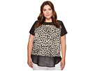 Vince Camuto Specialty Size - Plus Size Short Sleeve Leopard Song Chiffon Mix Media Top